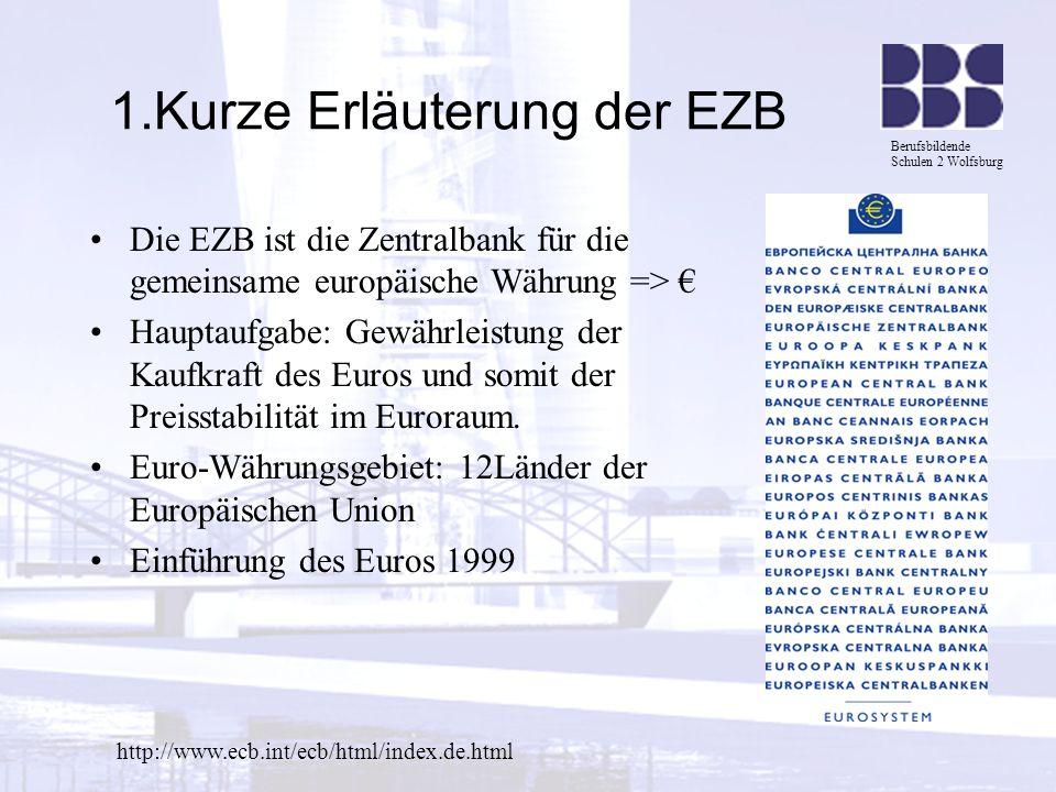 Berufsbildende Schulen 2 Wolfsburg 1.Kurze Erläuterung der EZB Die EZB ist die Zentralbank für die gemeinsame europäische Währung => Hauptaufgabe: Gew