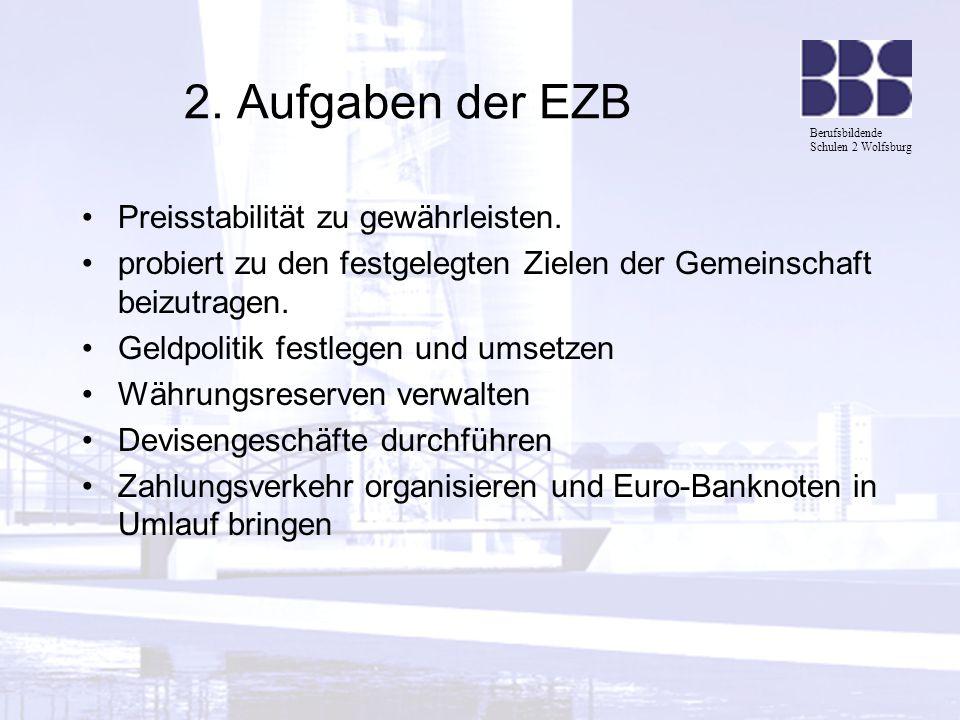 Berufsbildende Schulen 2 Wolfsburg 2. Aufgaben der EZB Preisstabilität zu gewährleisten. probiert zu den festgelegten Zielen der Gemeinschaft beizutra