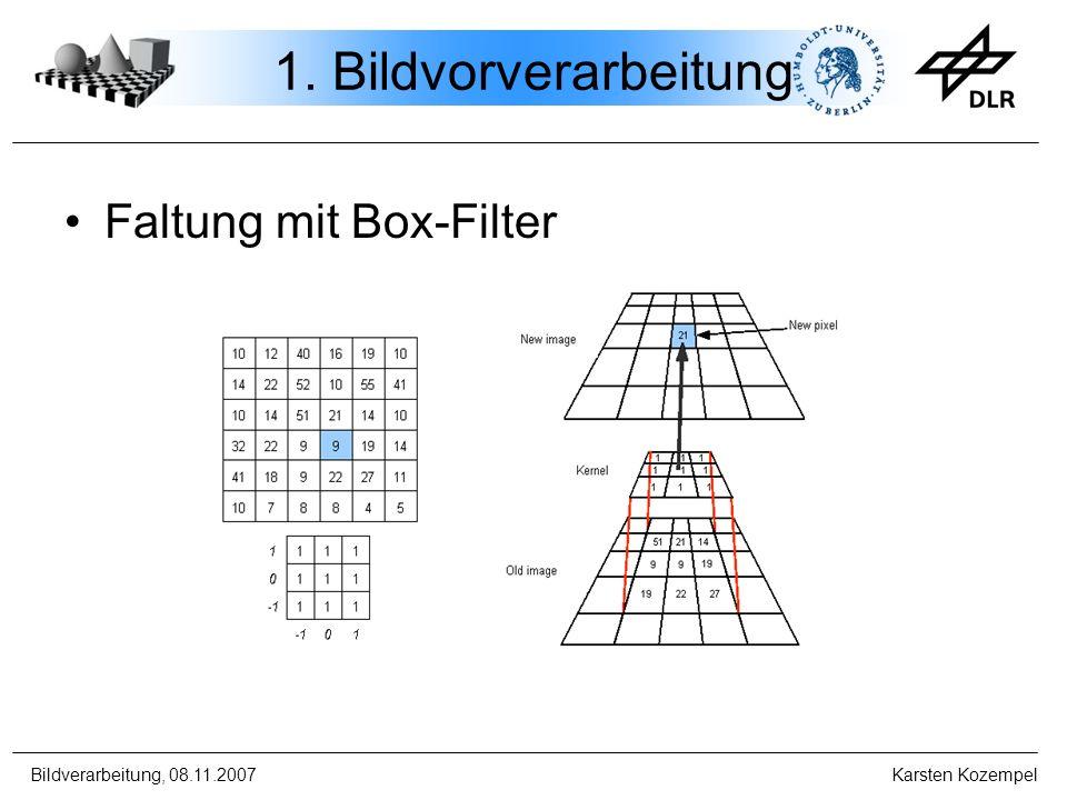 Bildverarbeitung, 08.11.2007 Karsten Kozempel 1. Bildvorverarbeitung Faltung mit Box-Filter