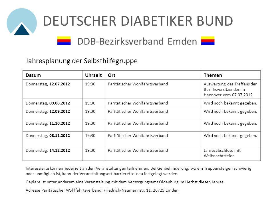 DEUTSCHER DIABETIKER BUND DDB-Bezirksverband Emden Hilfe zur Selbsthilfe wird gut angenommen von Stephanie Arends - Ostfriesen Zeitung vom 18. Juni 20