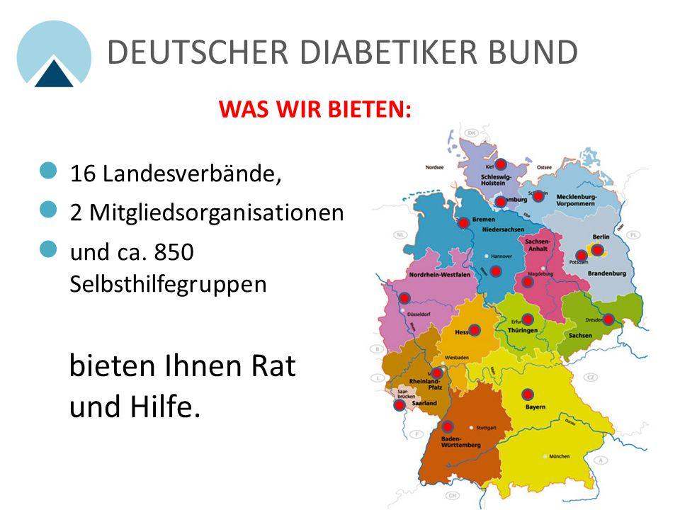 DEUTSCHER DIABETIKER BUND WAS WIR BIETEN: 16 Landesverbände, 2 Mitgliedsorganisationen und ca.