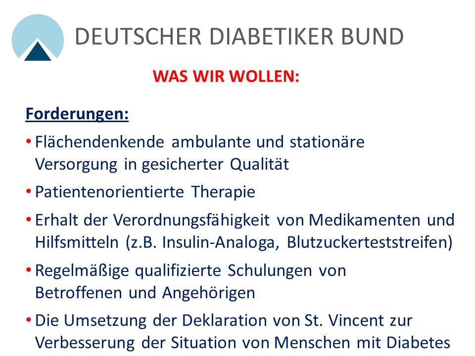 Forderungen: Flächendenkende ambulante und stationäre Versorgung in gesicherter Qualität Patientenorientierte Therapie Erhalt der Verordnungsfähigkeit von Medikamenten und Hilfsmitteln (z.B.