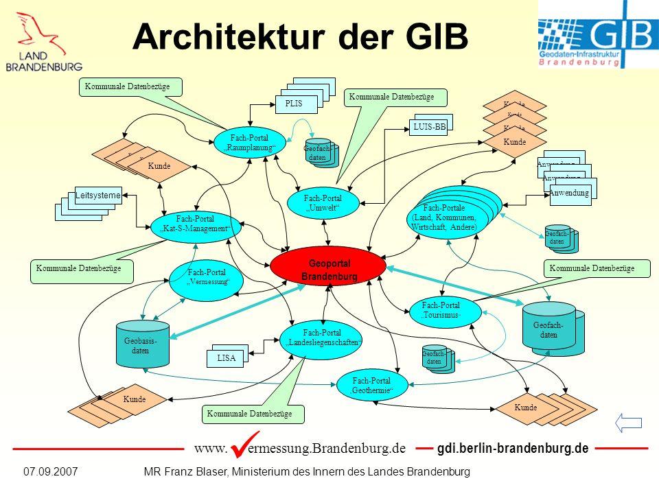 www. ermessung.Brandenburg.de gdi.berlin-brandenburg.de 07.09.2007MR Franz Blaser, Ministerium des Innern des Landes Brandenburg Architektur der GIB G