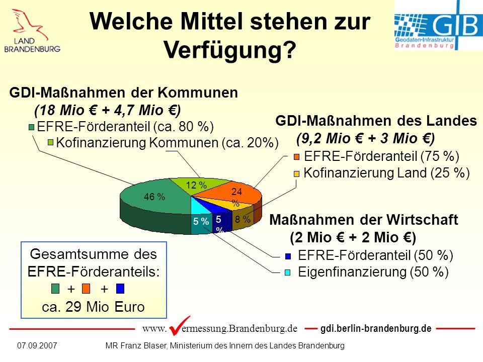 www. ermessung.Brandenburg.de gdi.berlin-brandenburg.de 07.09.2007MR Franz Blaser, Ministerium des Innern des Landes Brandenburg Gesamtsumme des EFRE-