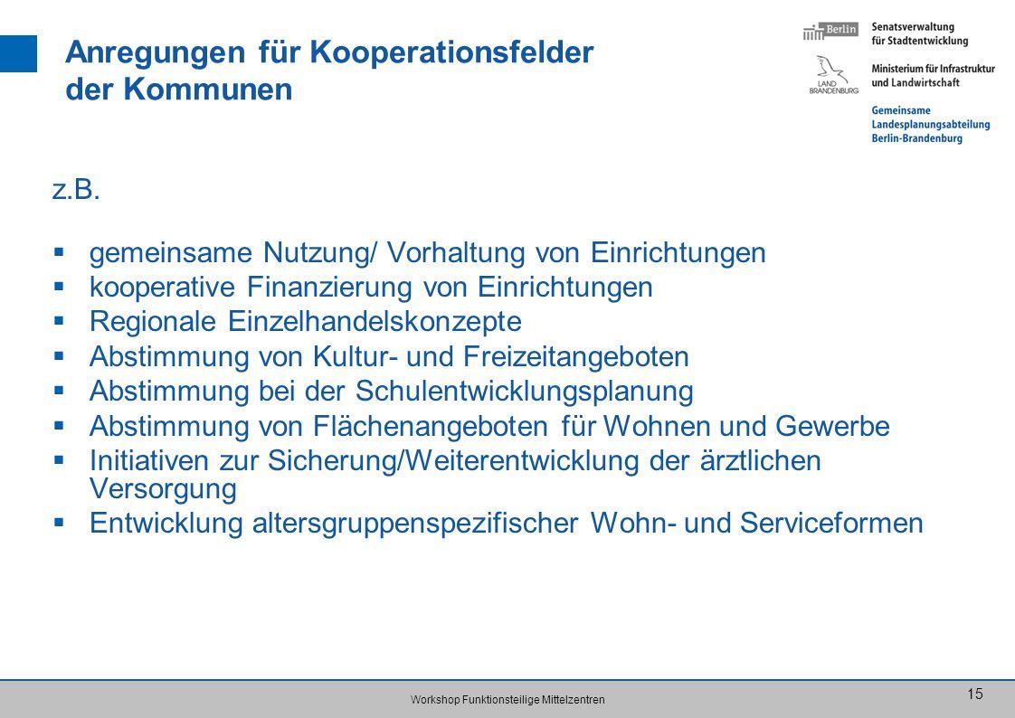 Workshop Funktionsteilige Mittelzentren 15 Anregungen für Kooperationsfelder der Kommunen z.B. gemeinsame Nutzung/ Vorhaltung von Einrichtungen kooper