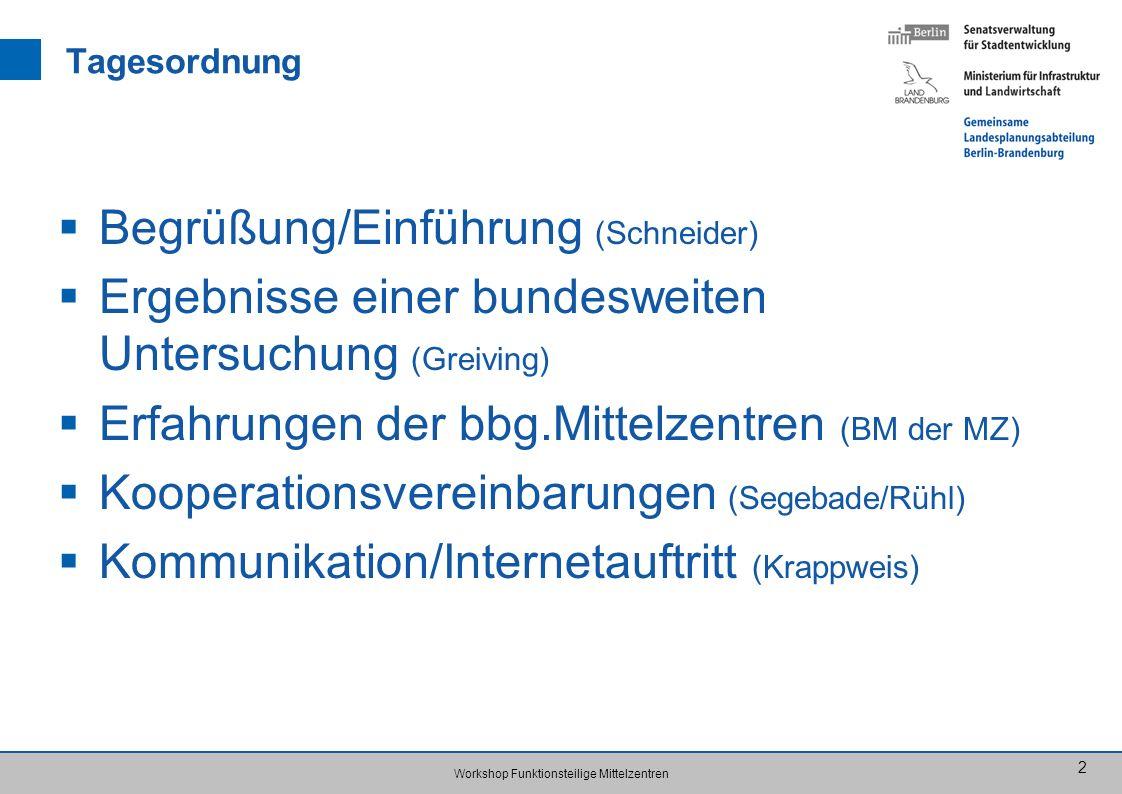 Workshop Funktionsteilige Mittelzentren 2 Tagesordnung Begrüßung/Einführung (Schneider) Ergebnisse einer bundesweiten Untersuchung (Greiving) Erfahrun