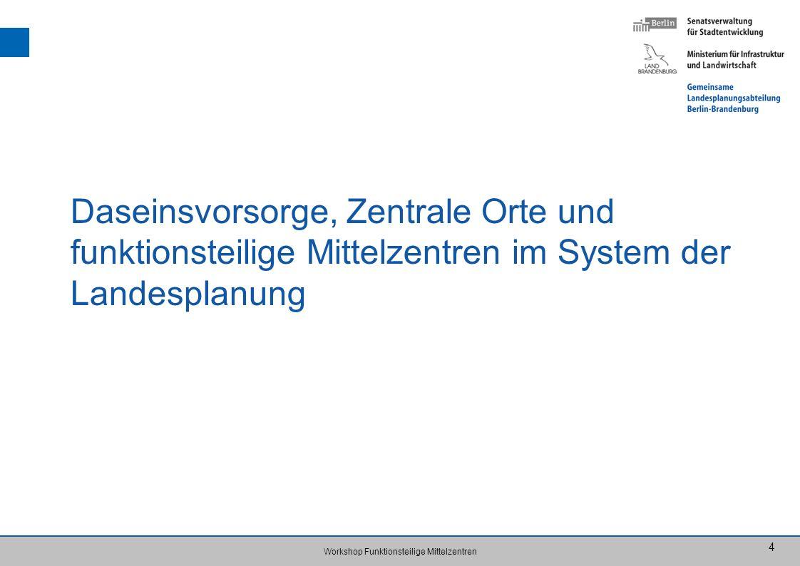 Workshop Funktionsteilige Mittelzentren 4 Daseinsvorsorge, Zentrale Orte und funktionsteilige Mittelzentren im System der Landesplanung