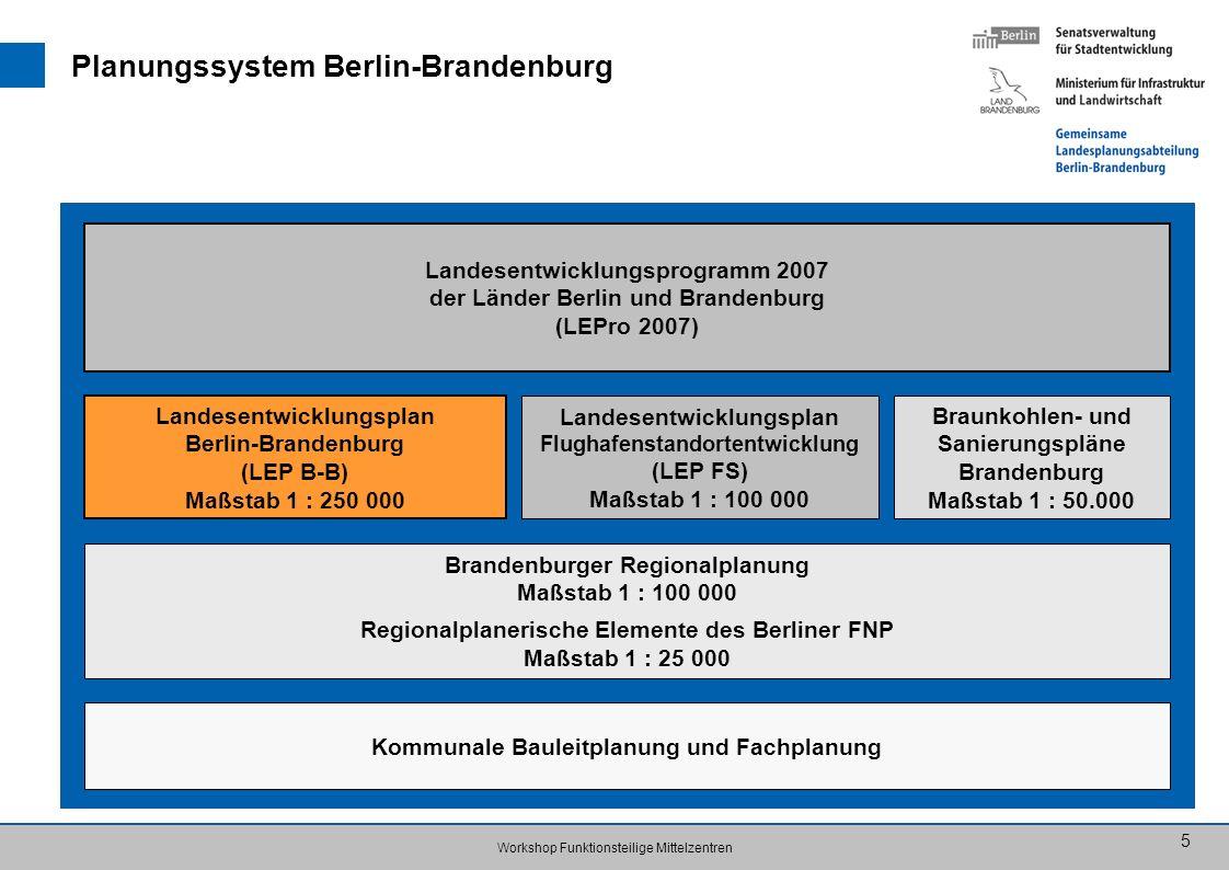 Workshop Funktionsteilige Mittelzentren 5 Planungssystem Berlin-Brandenburg Landesentwicklungsprogramm 2007 der Länder Berlin und Brandenburg (LEPro 2