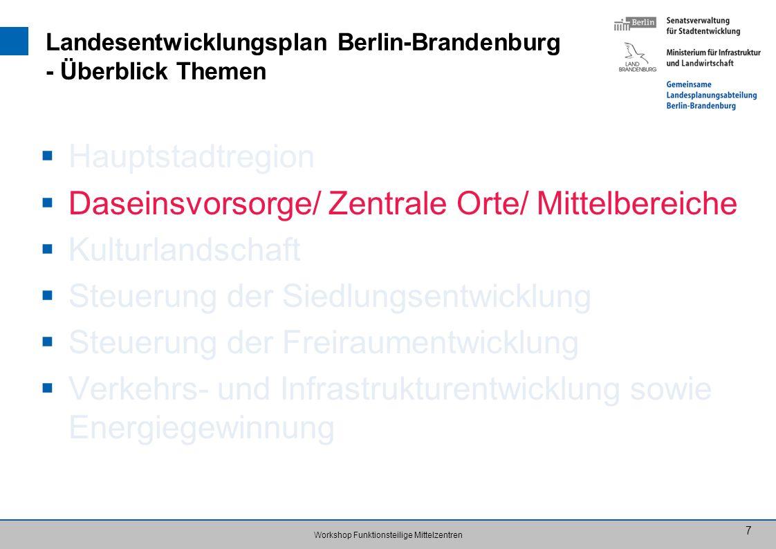 Workshop Funktionsteilige Mittelzentren 7 Landesentwicklungsplan Berlin-Brandenburg - Überblick Themen Hauptstadtregion Daseinsvorsorge/ Zentrale Orte
