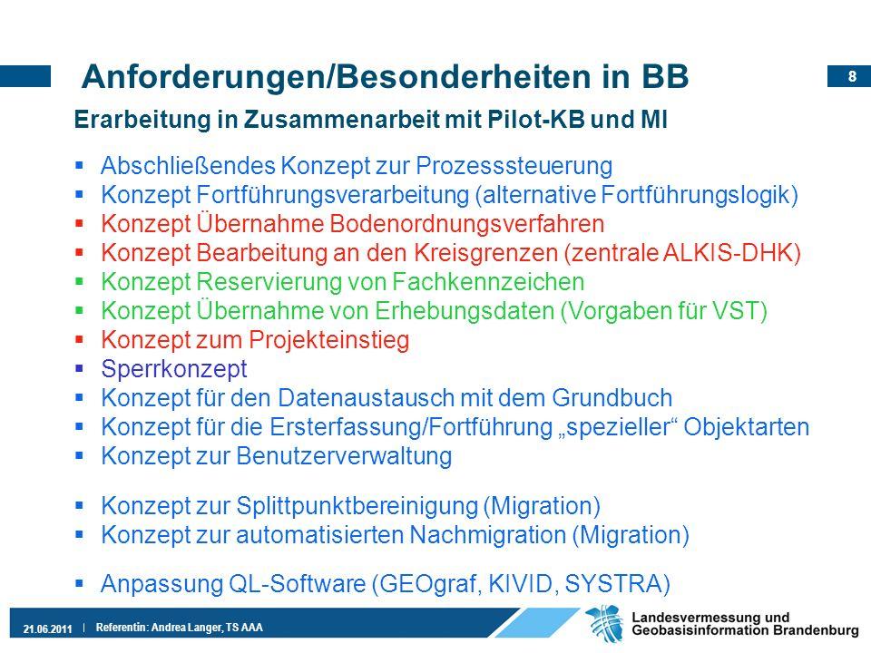8 21.06.2011 Referentin: Andrea Langer, TS AAA Anforderungen/Besonderheiten in BB Erarbeitung in Zusammenarbeit mit Pilot-KB und MI Abschließendes Kon