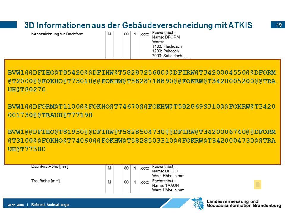 19 20.11.2009 Referent: Andrea Langer 3D Informationen aus der Gebäudeverschneidung mit ATKIS Auszug:VALK-Richtlinien, Folie 11 Gebäude BVW1@@DFIHO@T8