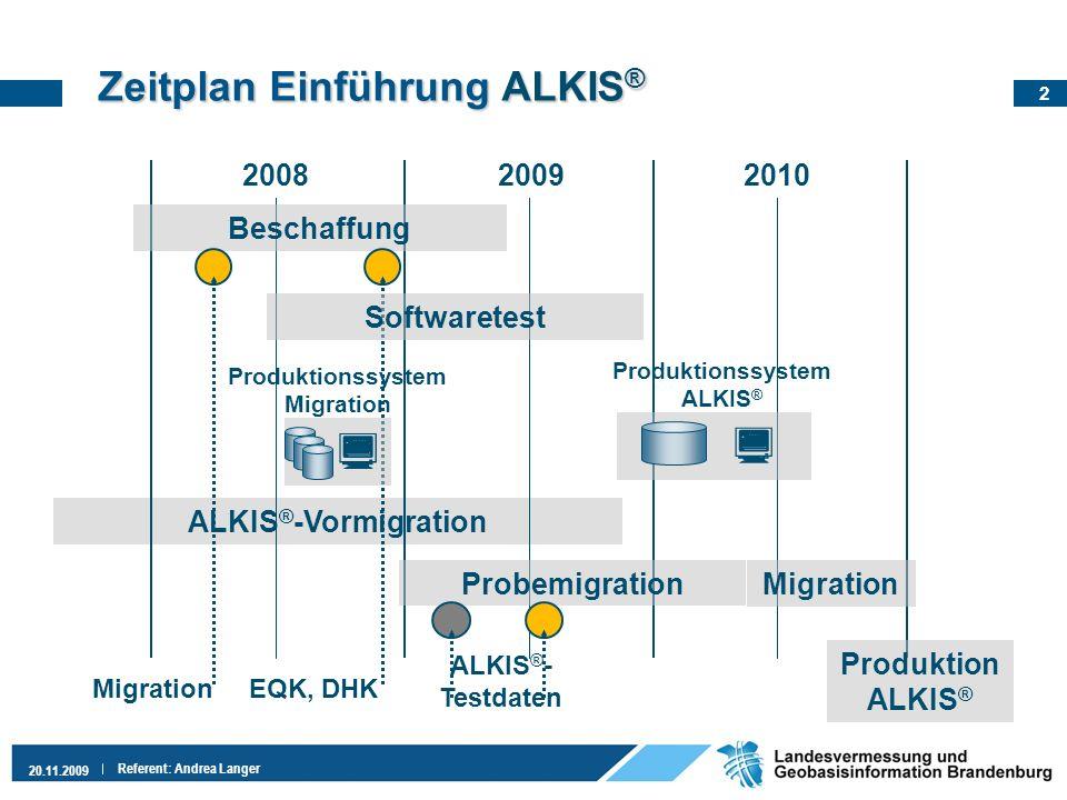 2 20.11.2009 Referent: Andrea Langer Zeitplan EinführungALKIS ® Zeitplan Einführung ALKIS ® ALKIS ® -Vormigration 200820092010 Probemigration Beschaff