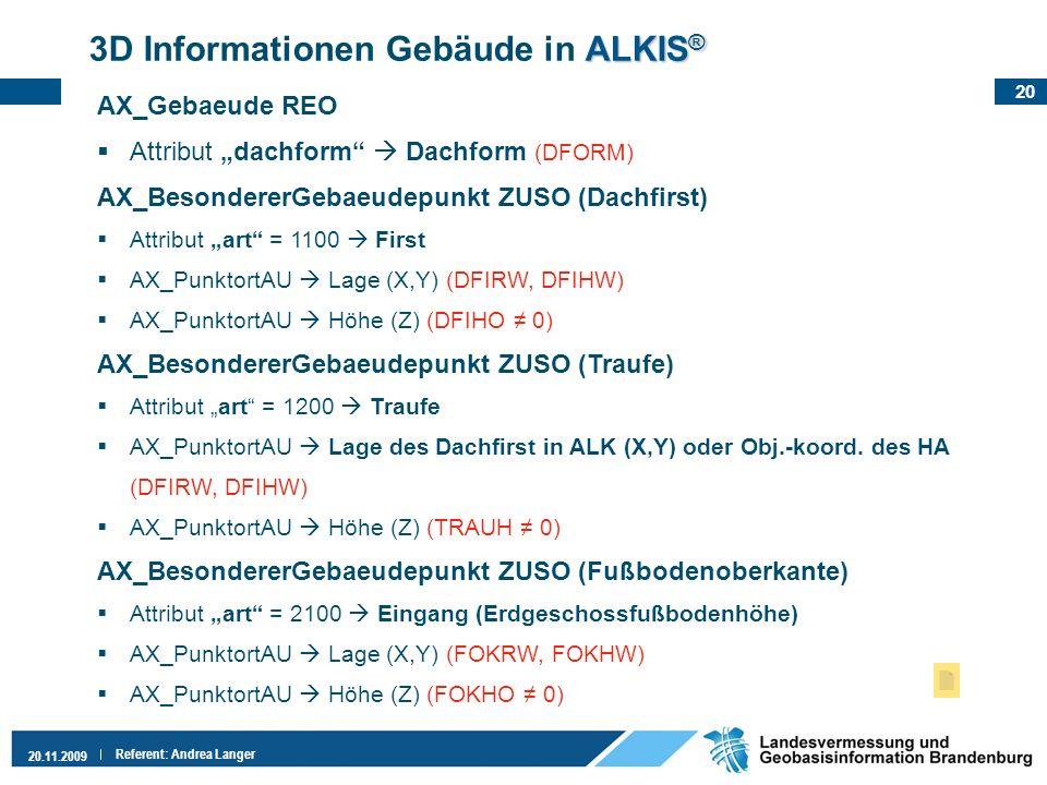 20 20.11.2009 Referent: Andrea Langer ALKIS ® 3D Informationen Gebäude in ALKIS ® AX_Gebaeude REO Attribut dachform Dachform (DFORM) AX_BesondererGeba