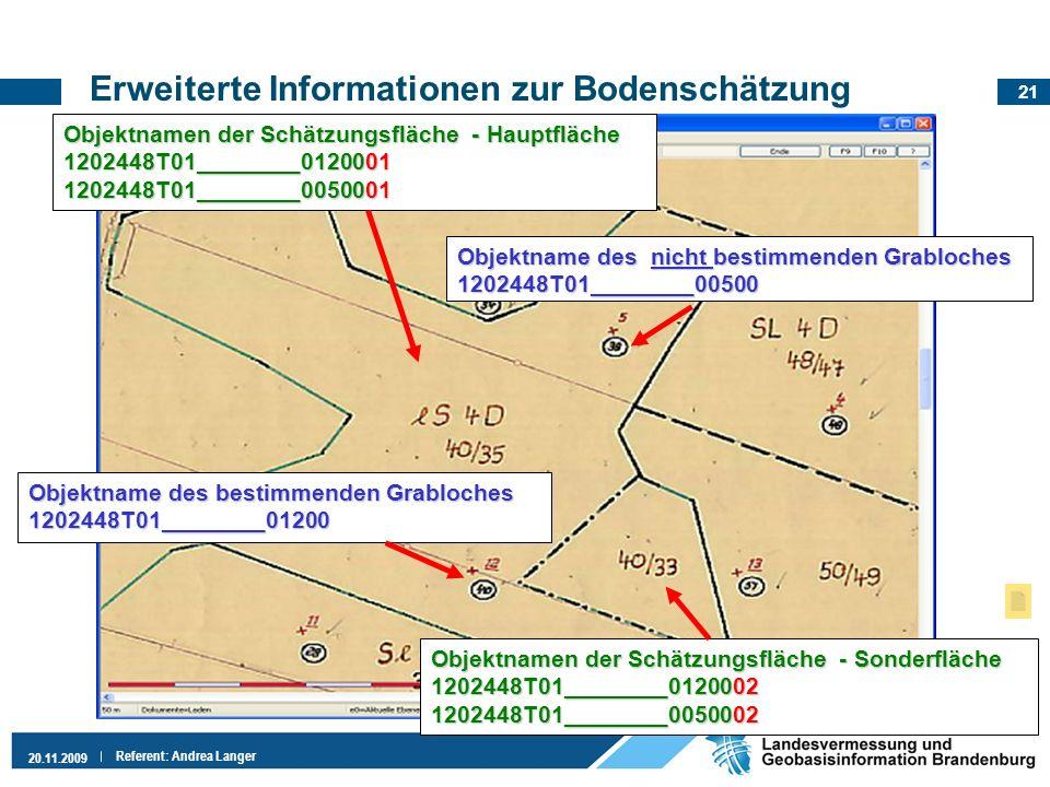 21 20.11.2009 Referent: Andrea Langer Erweiterte Informationen zur Bodenschätzung Objektname des bestimmenden Grabloches 1202448T01________01200 Objek