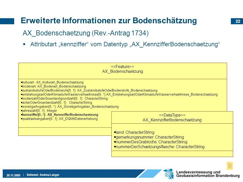 22 20.11.2009 Referent: Andrea Langer Erweiterte Informationen zur Bodenschätzung AX_Bodenschaetzung (Rev.-Antrag 1734) Attributart kennziffer vom Dat
