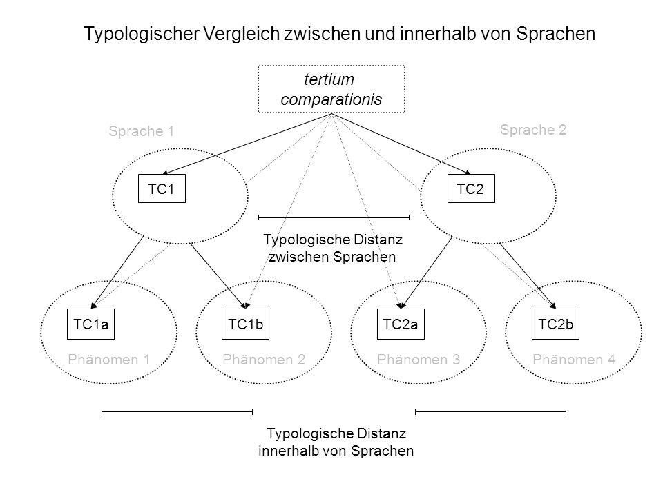Typologischer Vergleich zwischen und innerhalb von Sprachen tertium comparationis Typologische Distanz zwischen Sprachen Typologische Distanz innerhal