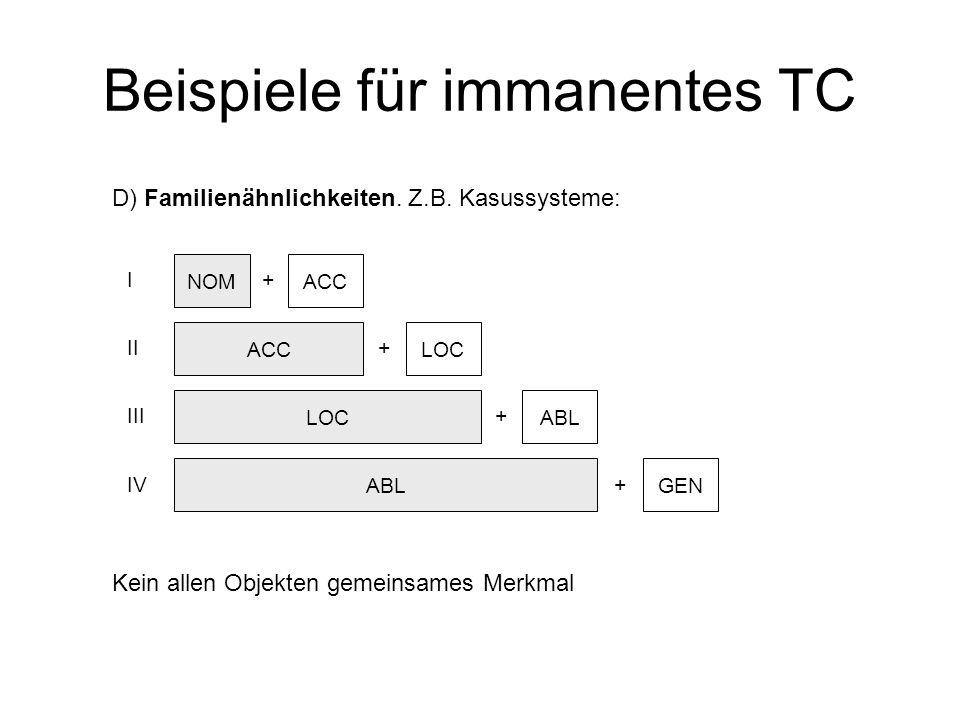 Beispiele für immanentes TC D) Familienähnlichkeiten. Z.B. Kasussysteme: Kein allen Objekten gemeinsames Merkmal NOM ACC LOC ABL ACC + LOC + ABL + GEN