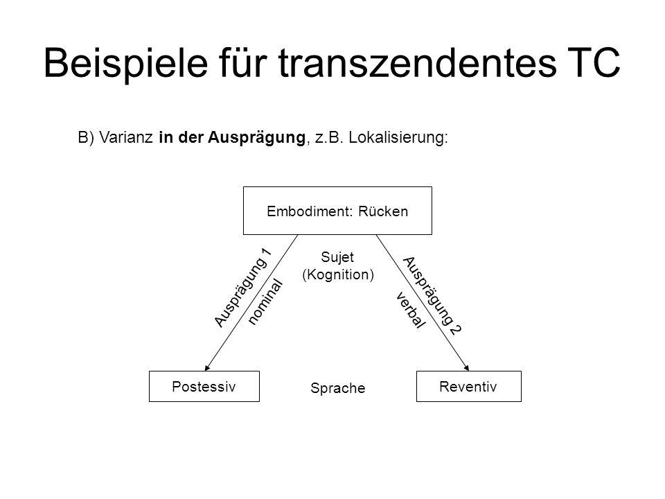 Beispiele für transzendentes TC B) Varianz in der Ausprägung, z.B. Lokalisierung: Sprache Postessiv Ausprägung 1 nominal Reventiv Ausprägung 2 verbal