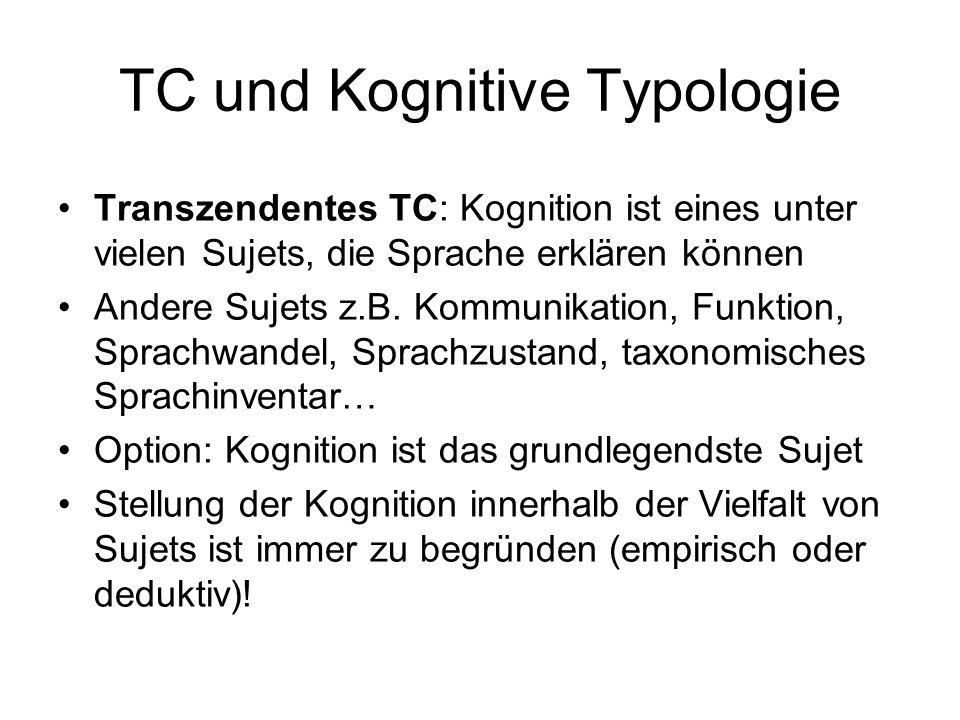 TC und Kognitive Typologie Transzendentes TC: Kognition ist eines unter vielen Sujets, die Sprache erklären können Andere Sujets z.B. Kommunikation, F