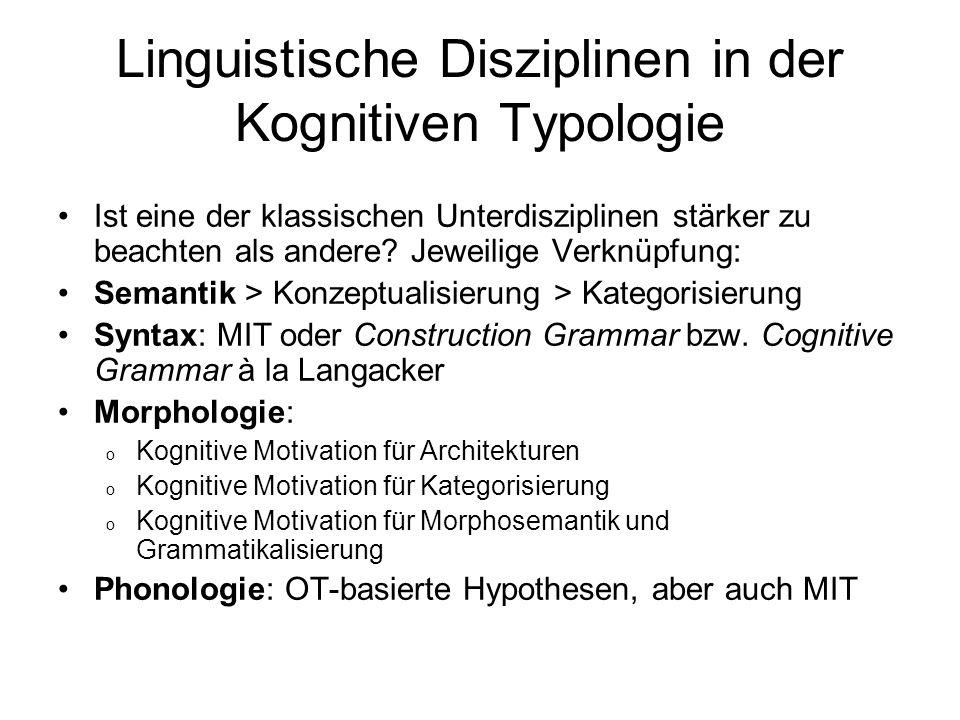 Linguistische Disziplinen in der Kognitiven Typologie Ist eine der klassischen Unterdisziplinen stärker zu beachten als andere? Jeweilige Verknüpfung: