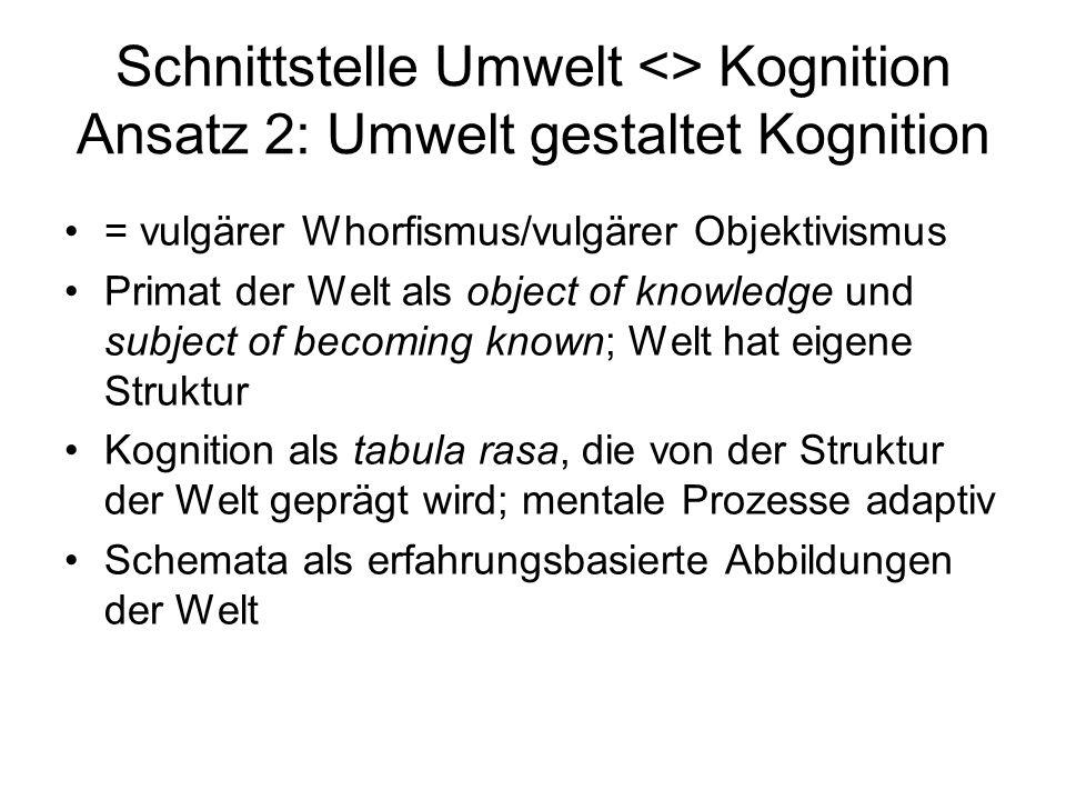Schnittstelle Umwelt <> Kognition Ansatz 2: Umwelt gestaltet Kognition = vulgärer Whorfismus/vulgärer Objektivismus Primat der Welt als object of know