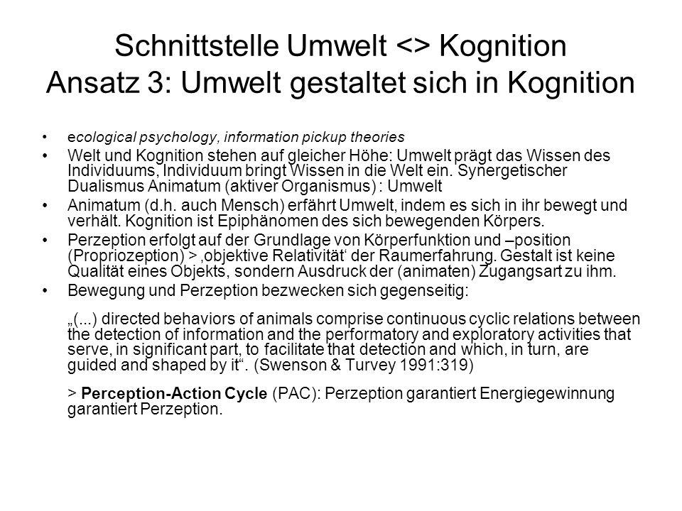 Schnittstelle Umwelt <> Kognition Ansatz 3: Umwelt gestaltet sich in Kognition ecological psychology, information pickup theories Welt und Kognition s