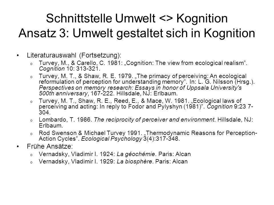 Schnittstelle Umwelt <> Kognition Ansatz 3: Umwelt gestaltet sich in Kognition Literaturauswahl (Fortsetzung): o Turvey, M., & Carello, C. 1981: Cogni