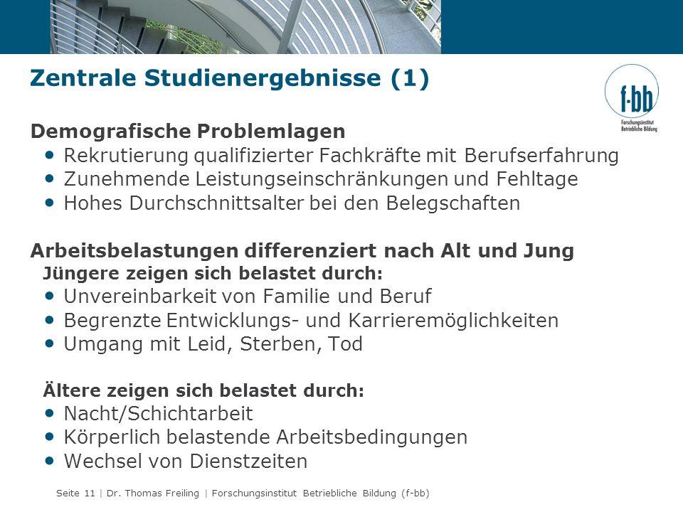 Seite 11 | Dr. Thomas Freiling | Forschungsinstitut Betriebliche Bildung (f-bb) Zentrale Studienergebnisse (1) Demografische Problemlagen Rekrutierung