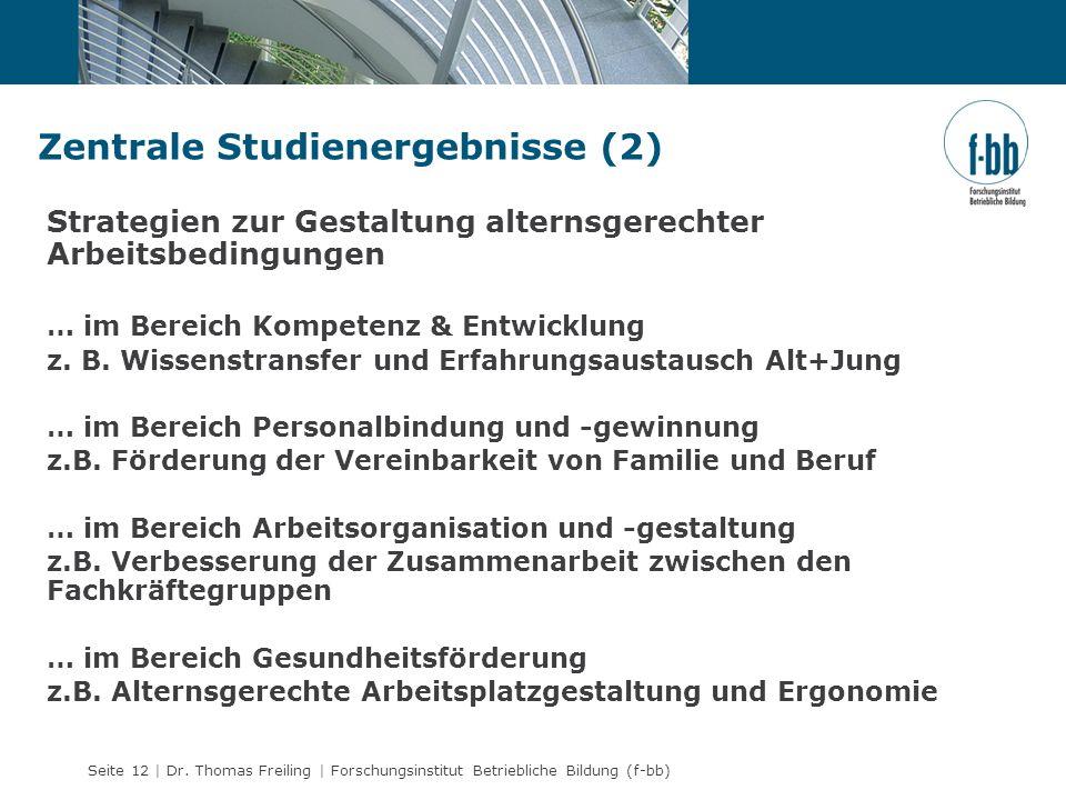 Seite 12 | Dr. Thomas Freiling | Forschungsinstitut Betriebliche Bildung (f-bb) Zentrale Studienergebnisse (2) Strategien zur Gestaltung alternsgerech