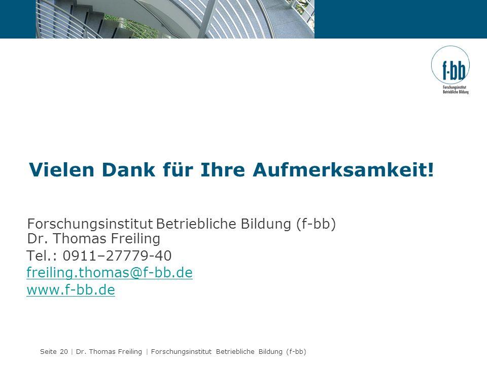Seite 20 | Dr. Thomas Freiling | Forschungsinstitut Betriebliche Bildung (f-bb) Forschungsinstitut Betriebliche Bildung (f-bb) Dr. Thomas Freiling Tel