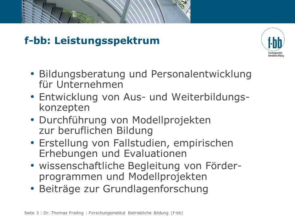Seite 3 | Dr. Thomas Freiling | Forschungsinstitut Betriebliche Bildung (f-bb) f-bb: Leistungsspektrum Bildungsberatung und Personalentwicklung für Un