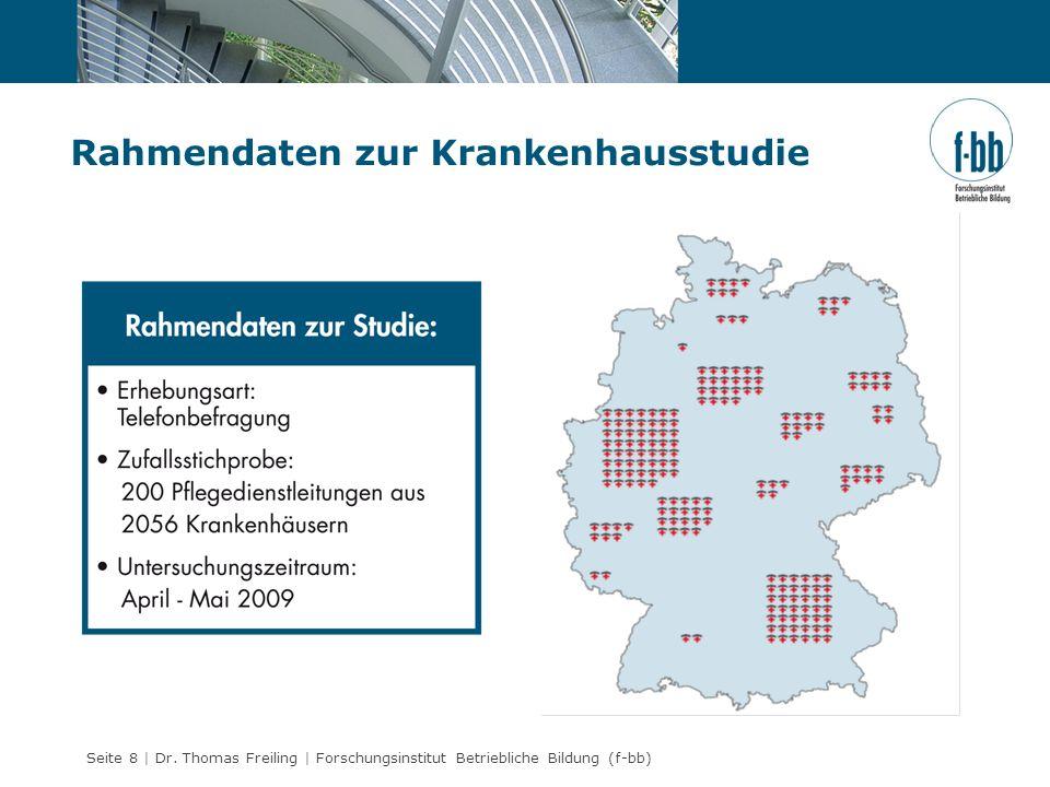 Seite 8 | Dr. Thomas Freiling | Forschungsinstitut Betriebliche Bildung (f-bb) Rahmendaten zur Krankenhausstudie