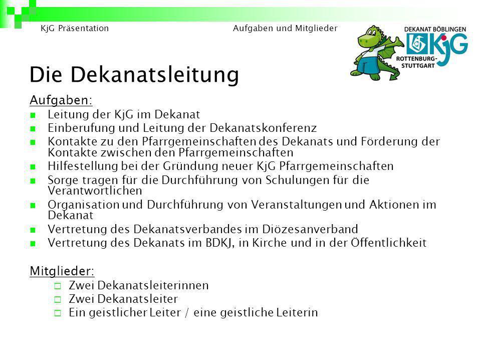 Die Dekanatsleitung Aufgaben: Leitung der KjG im Dekanat Einberufung und Leitung der Dekanatskonferenz Kontakte zu den Pfarrgemeinschaften des Dekanat