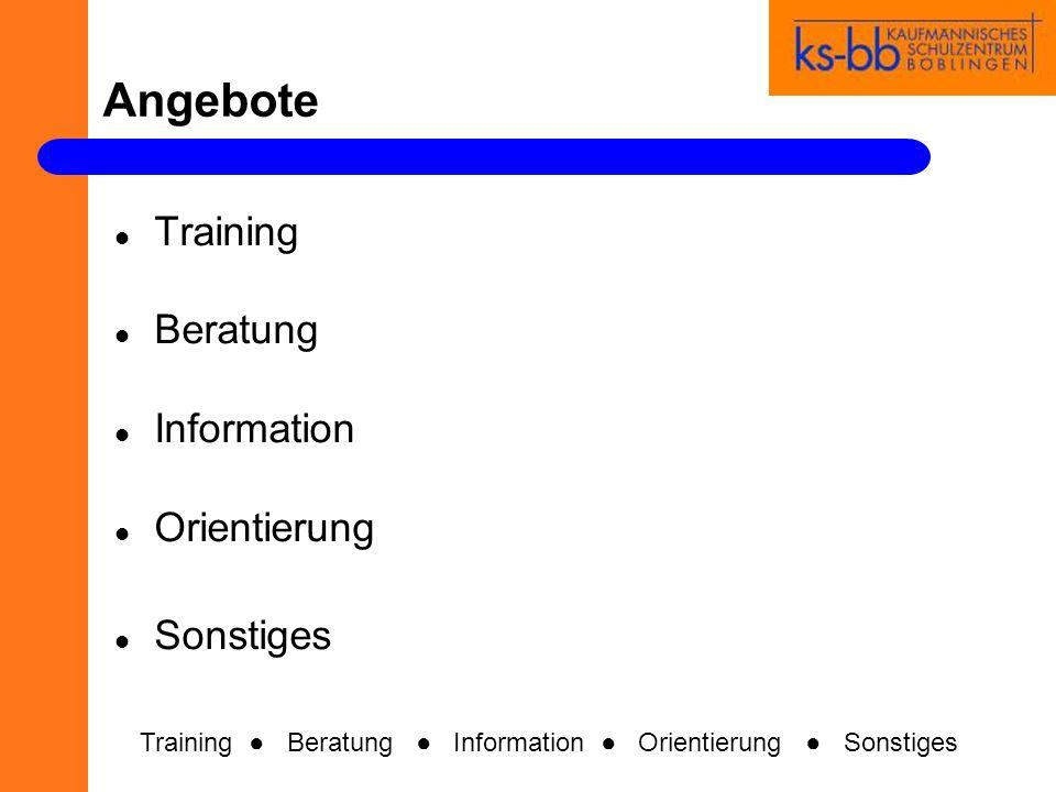 Angebote Training Beratung Information Orientierung Sonstiges Training Beratung Information Orientierung Sonstiges
