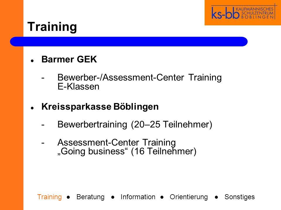 Training Barmer GEK -Bewerber-/Assessment-Center Training E-Klassen Kreissparkasse Böblingen -Bewerbertraining (20–25 Teilnehmer) -Assessment-Center Training Going business (16 Teilnehmer) Training Beratung Information Orientierung Sonstiges