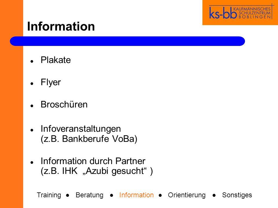 Information Plakate Flyer Broschüren Infoveranstaltungen (z.B. Bankberufe VoBa) Information durch Partner (z.B. IHK Azubi gesucht ) Training Beratung