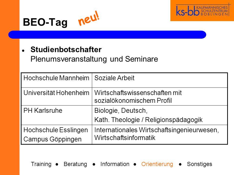 BEO-Tag Studienbotschafter Plenumsveranstaltung und Seminare Hochschule MannheimSoziale Arbeit Universität HohenheimWirtschaftswissenschaften mit sozi