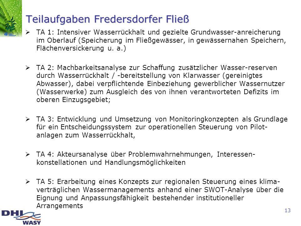 13 Teilaufgaben Fredersdorfer Fließ TA 1: Intensiver Wasserrückhalt und gezielte Grundwasser-anreicherung im Oberlauf (Speicherung im Fließgewässer, i