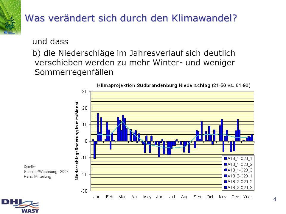 4 Was verändert sich durch den Klimawandel? und dass b) die Niederschläge im Jahresverlauf sich deutlich verschieben werden zu mehr Winter- und wenige