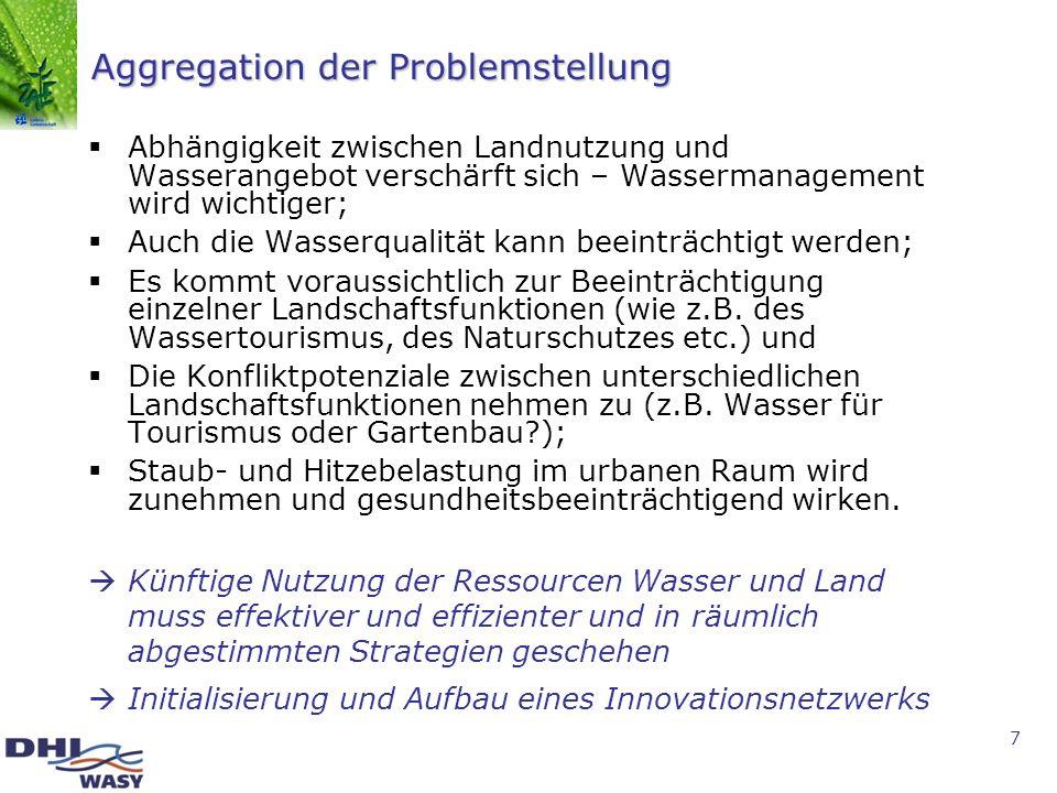 7 Aggregation der Problemstellung Abhängigkeit zwischen Landnutzung und Wasserangebot verschärft sich – Wassermanagement wird wichtiger; Auch die Wass