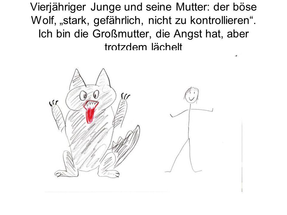 Vierjähriger Junge und seine Mutter: der böse Wolf, stark, gefährlich, nicht zu kontrollieren.