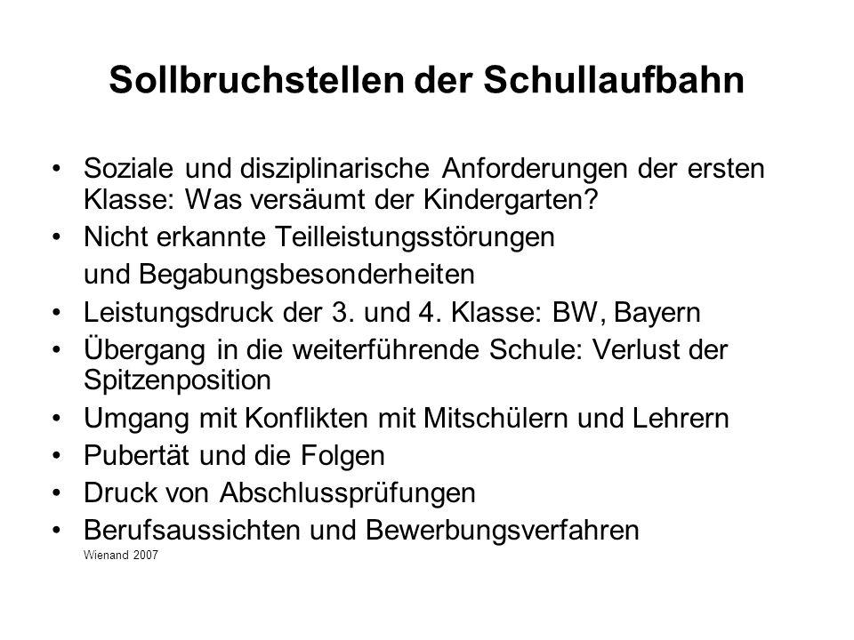 Sollbruchstellen der Schullaufbahn Soziale und disziplinarische Anforderungen der ersten Klasse: Was versäumt der Kindergarten.