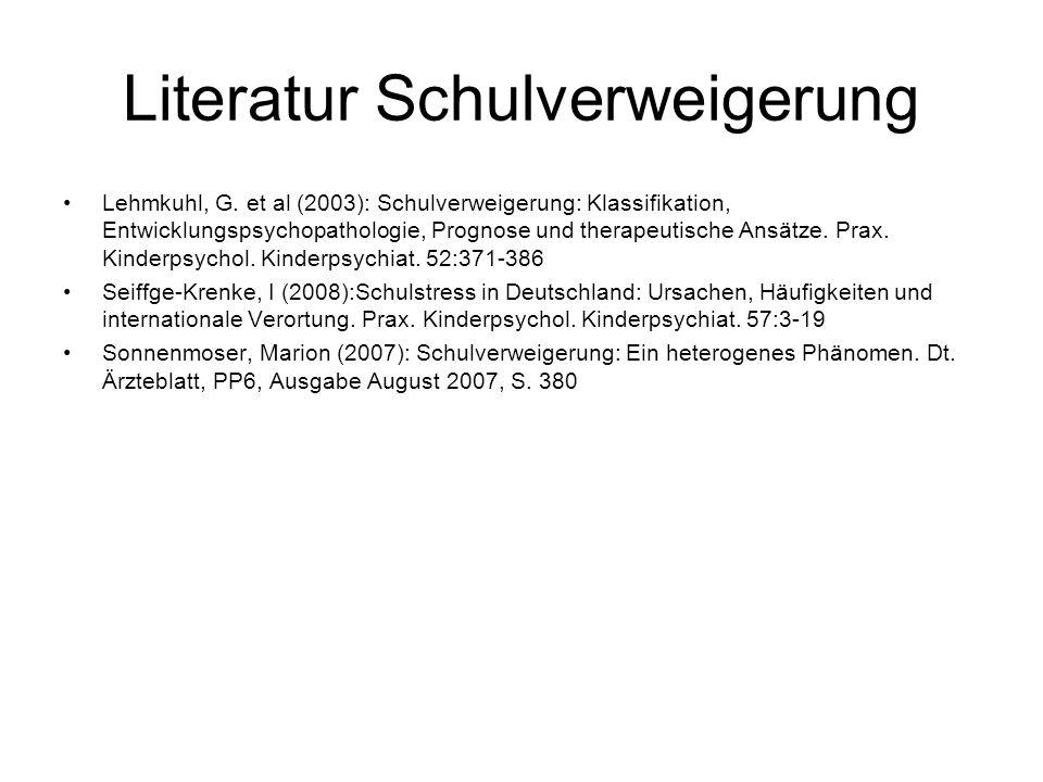 Literatur Schulverweigerung Lehmkuhl, G.