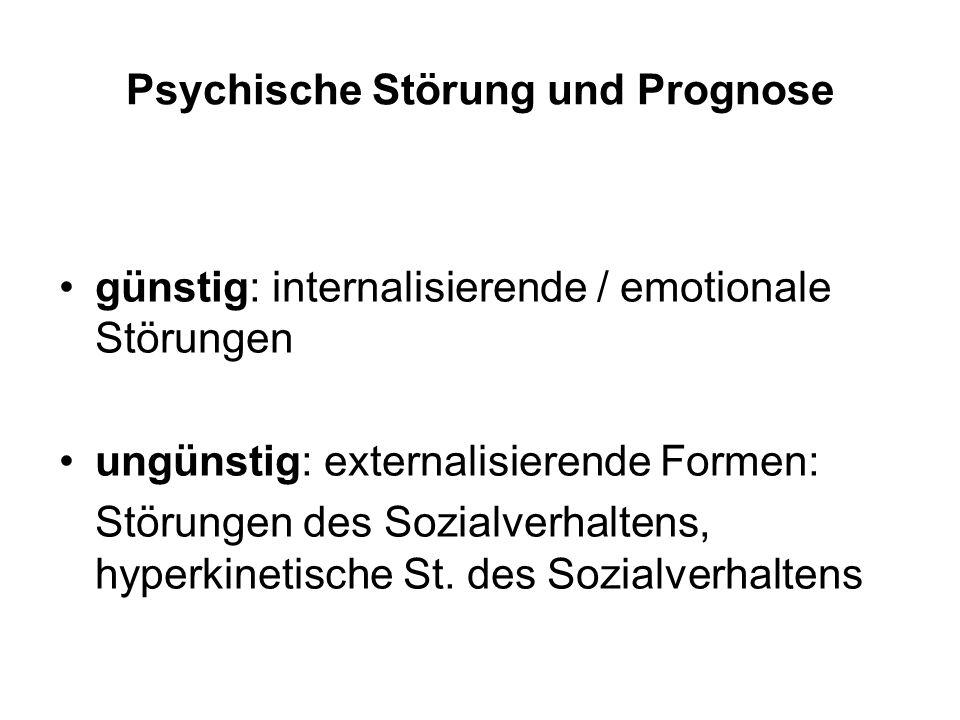 Psychische Störung und Prognose günstig: internalisierende / emotionale Störungen ungünstig: externalisierende Formen: Störungen des Sozialverhaltens, hyperkinetische St.