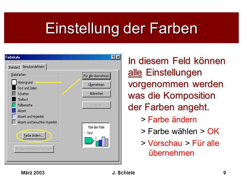 März 2003J. Schiele9 Einstellung der Farben In diesem Feld können alle Einstellungen vorgenommen werden was die Komposition der Farben angeht. > Farbe