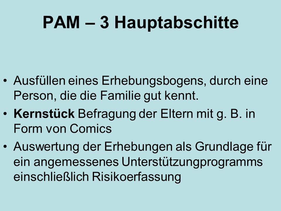 PAM – 3 Hauptabschitte Ausfüllen eines Erhebungsbogens, durch eine Person, die die Familie gut kennt. Kernstück Befragung der Eltern mit g. B. in Form