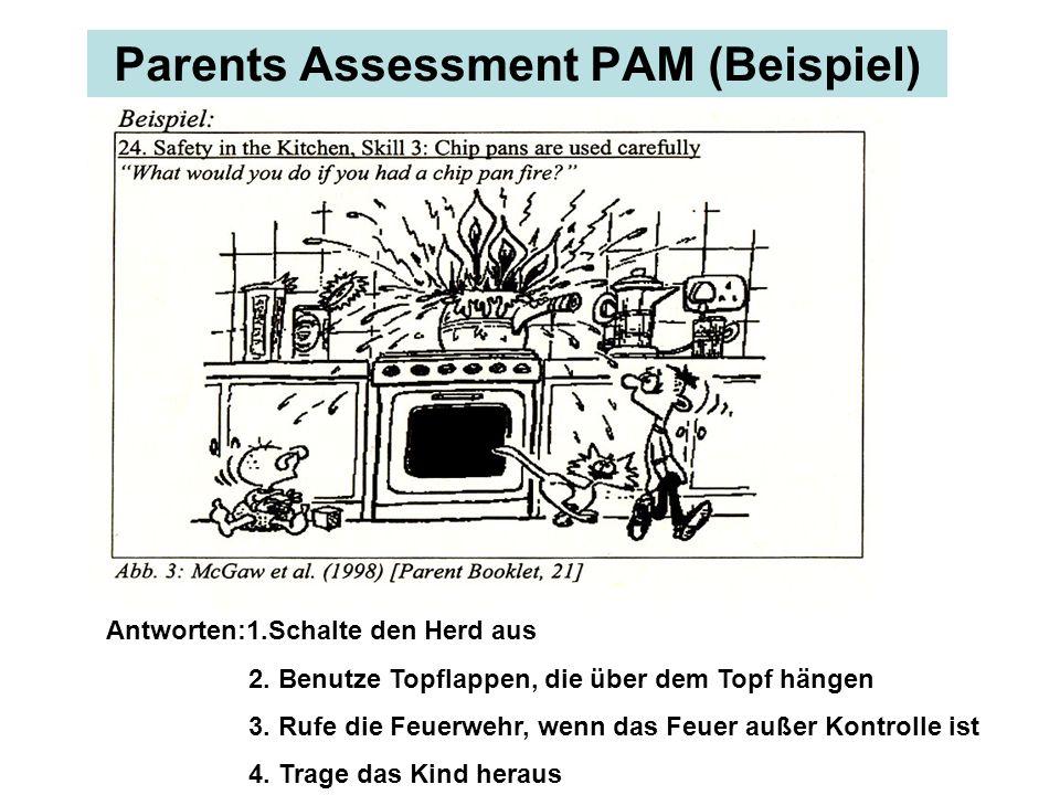 Parents Assessment PAM (Beispiel) Antworten:1.Schalte den Herd aus 2. Benutze Topflappen, die über dem Topf hängen 3. Rufe die Feuerwehr, wenn das Feu