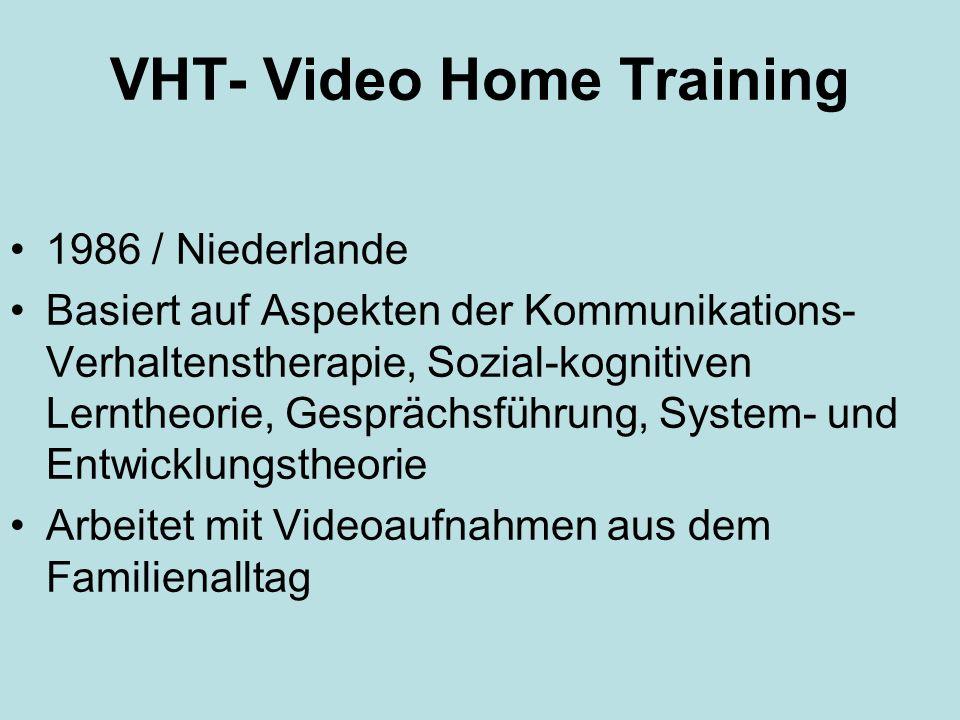 VHT- Video Home Training 1986 / Niederlande Basiert auf Aspekten der Kommunikations- Verhaltenstherapie, Sozial-kognitiven Lerntheorie, Gesprächsführu
