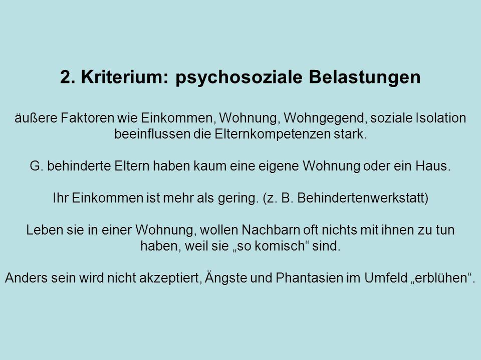 2. Kriterium: psychosoziale Belastungen äußere Faktoren wie Einkommen, Wohnung, Wohngegend, soziale Isolation beeinflussen die Elternkompetenzen stark