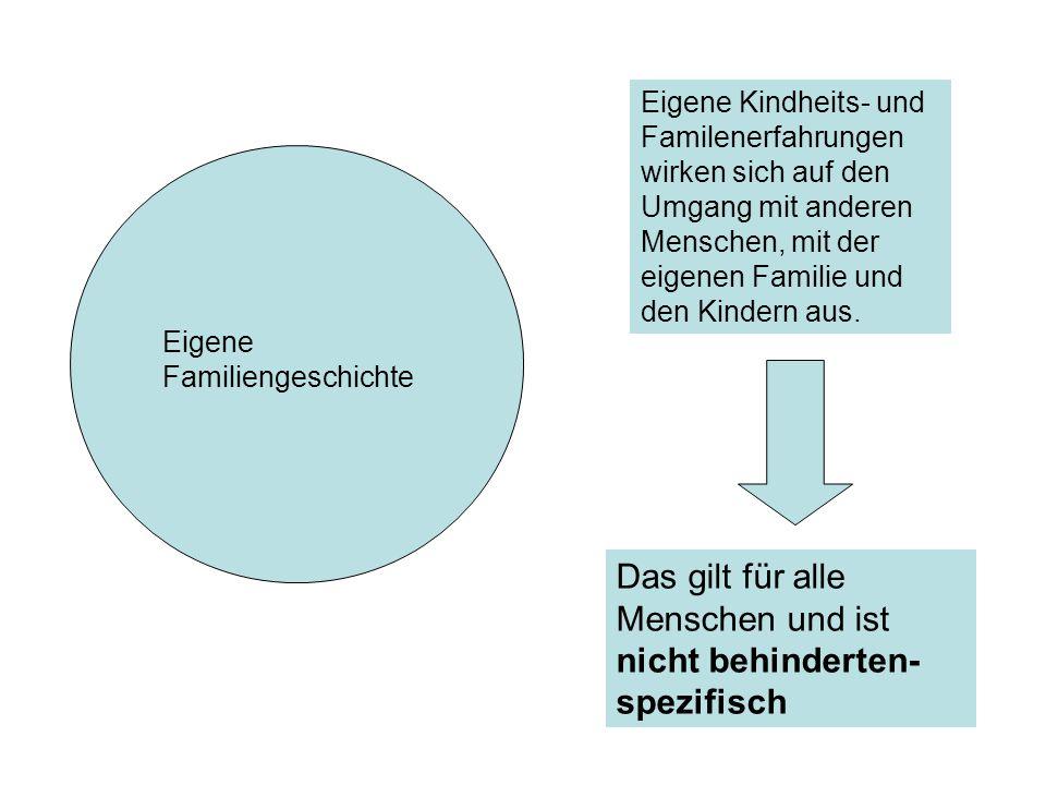 Eigene Familiengeschichte Eigene Kindheits- und Familenerfahrungen wirken sich auf den Umgang mit anderen Menschen, mit der eigenen Familie und den Ki